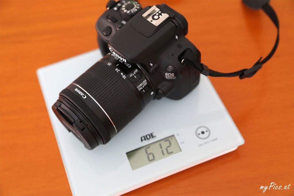 Gewicht Waage Canon EOS 100D Kamera